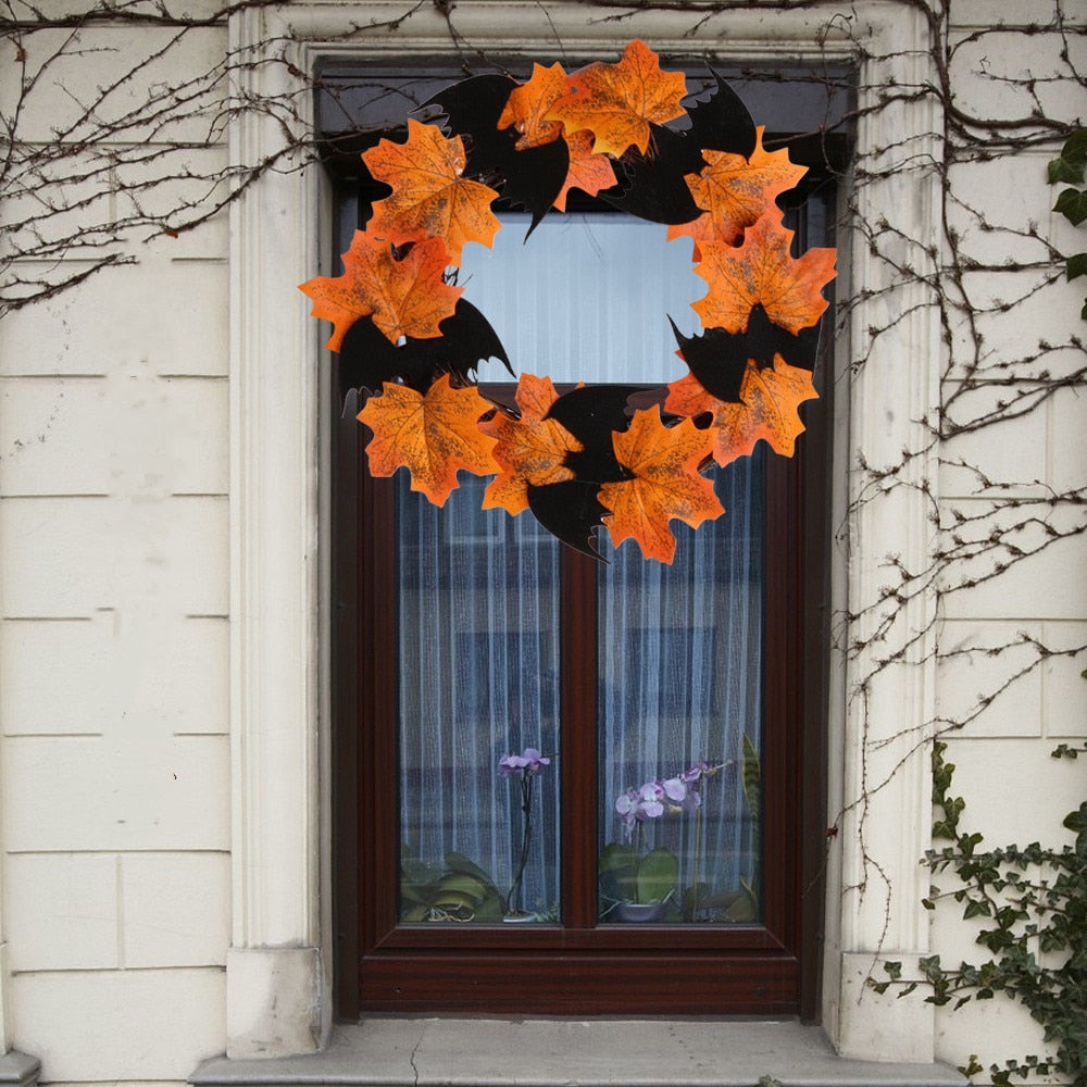 Hanging Bat Leaf Wreath Halloween Home Decorations