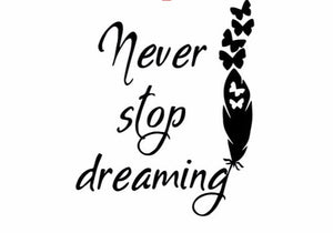 """Never Stop Dreaming""  Motivational Quotes Vinyl Wall Decals"