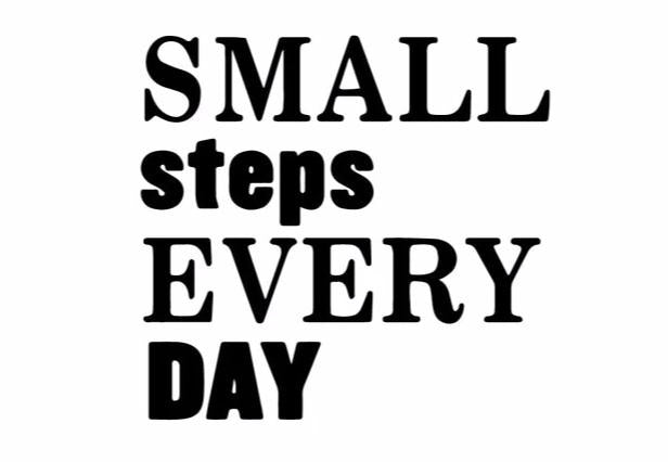 """Small Steps Every Day"" Motivational Quotes Vinyl Wall Decals"