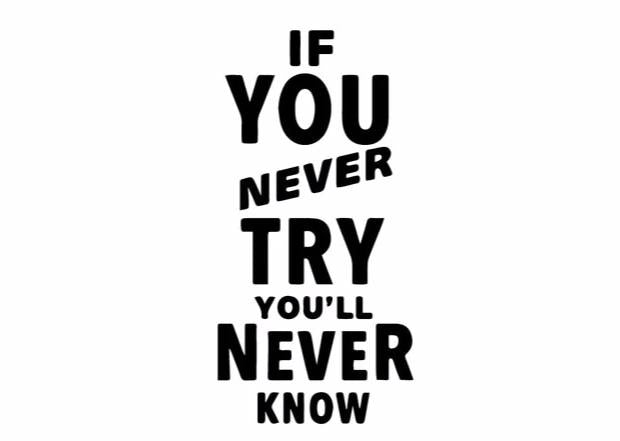 """If You Never Try..."" Motivational Quotes Vinyl Wall Decals"