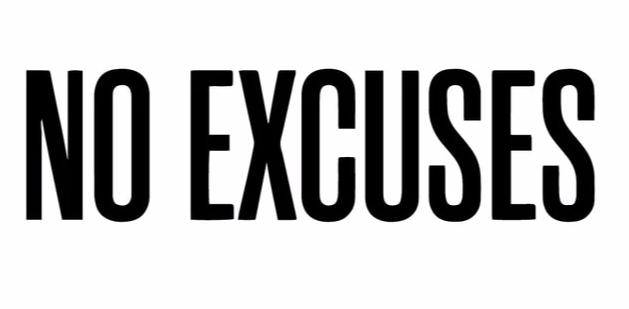 """No Excuses"" Motivational Quotes Vinyl Wall Decals"