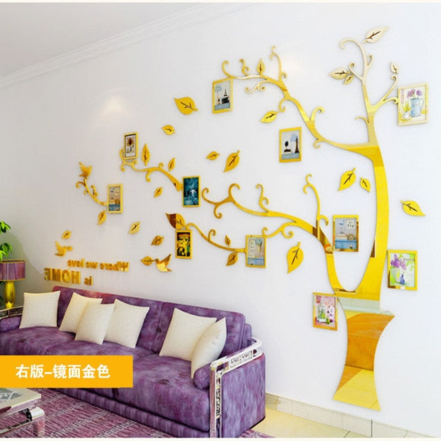 Gold Tree Photo Frame Wall Sticker DIY