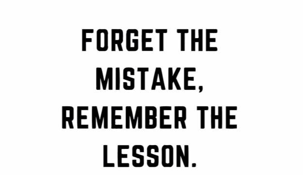 """Forget The Mistake..."" Motivational Quote Vinyl Wall Decal"
