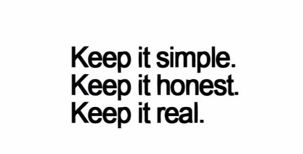 """Keep It Simple, Honest... Real"" Motivational Quote Wall Decal"