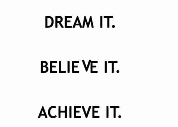 """Dream It. Believe It. Achieve It."" Motivational Quote Vinyl Wall Decal"