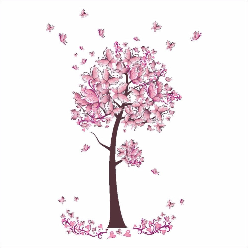 Pink Butterfly Flower Tree Wall Decals