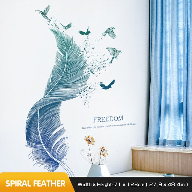 Spiral Blue Feather to Bird Flight Wall Decal