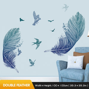 Artistic Double Blue Feather to Flying Bird Wall Decal
