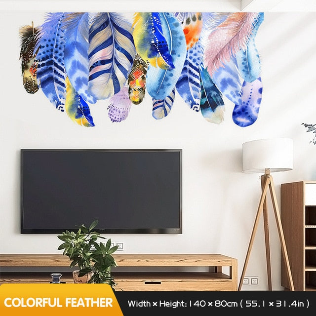 Vibrant Colorful Feathers Wall Decal