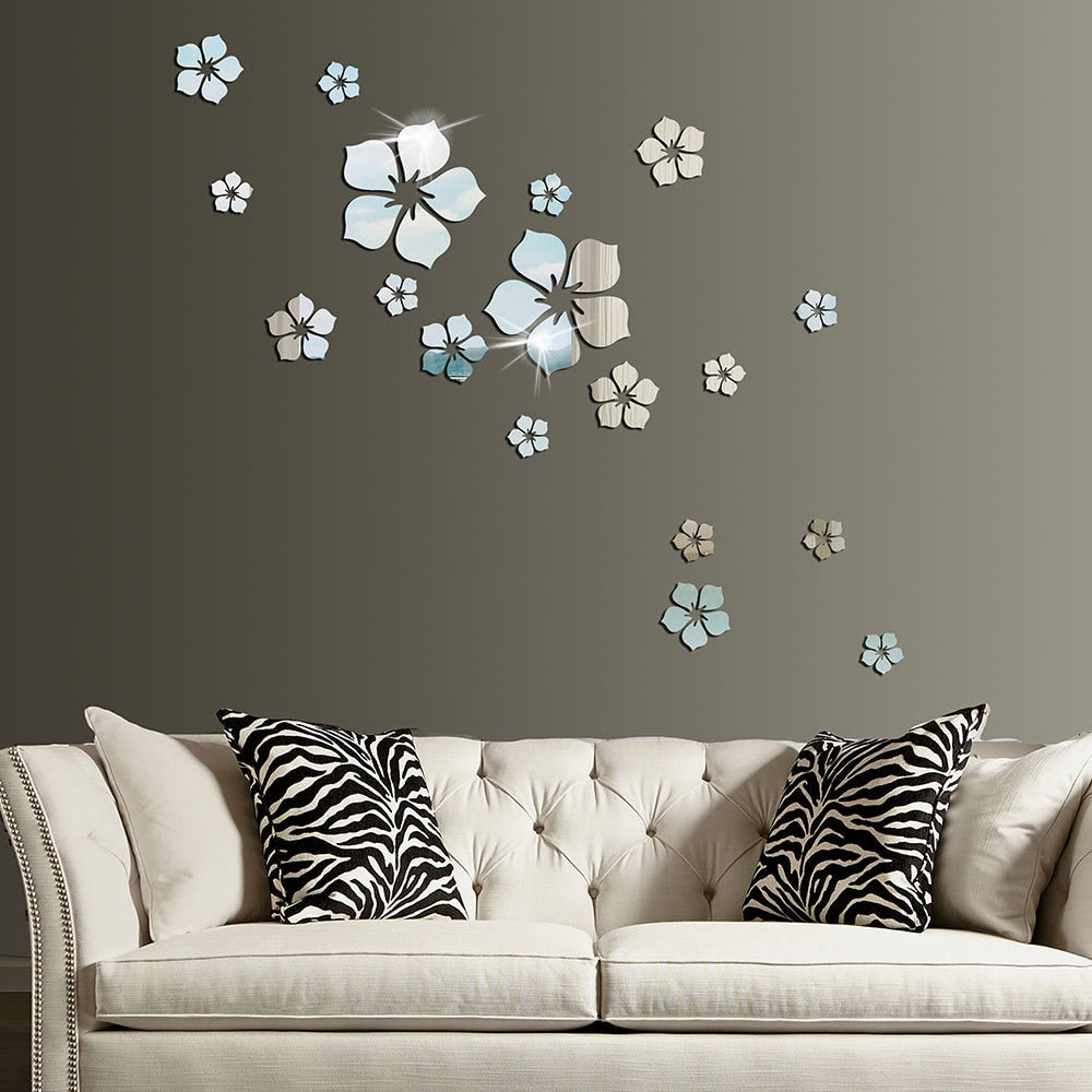 18Pcs  Acrylic 3D DIY Mirror Wall Sticker