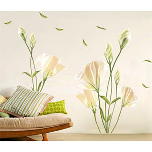 Elegant Lily Floral Wall Stickers- Bedroom Decor Ideas