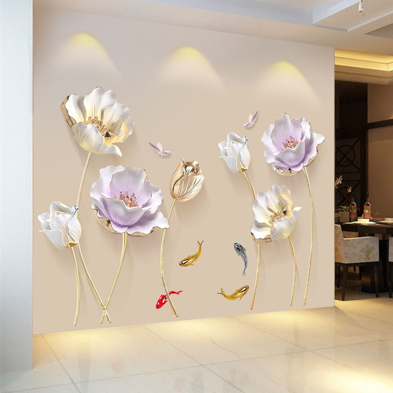 Elegant  Floral Wall Sticker Chinese Style 3D Home Decor ideas