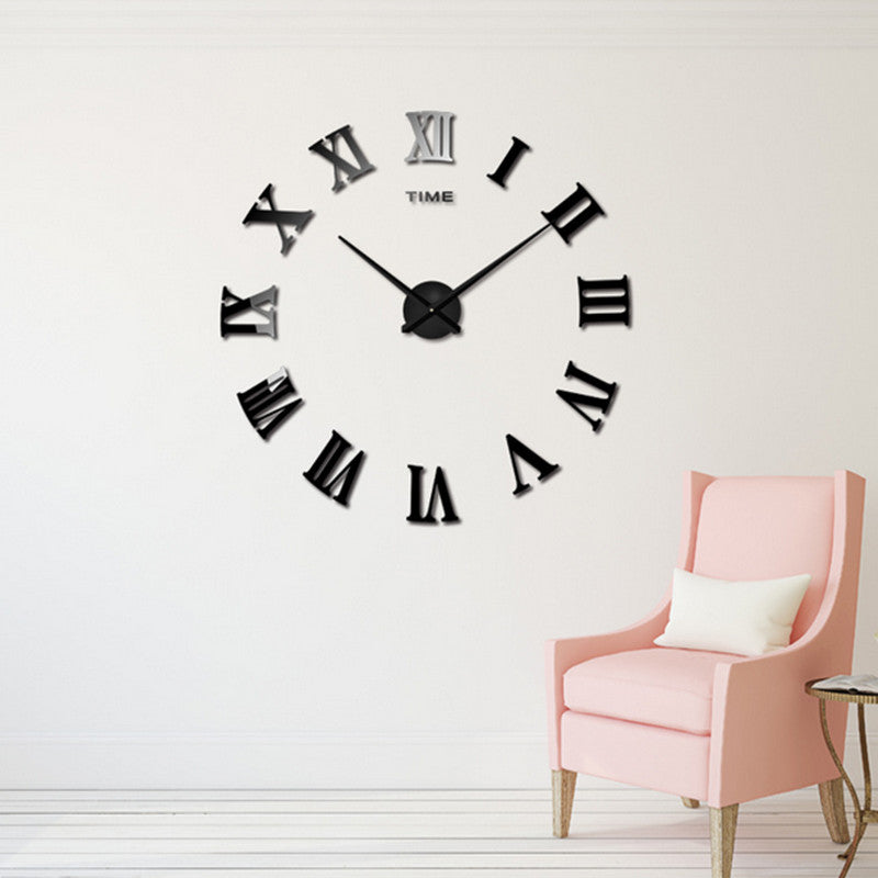 Black Roman Numerals Clock 3D Wall Sticker DIY