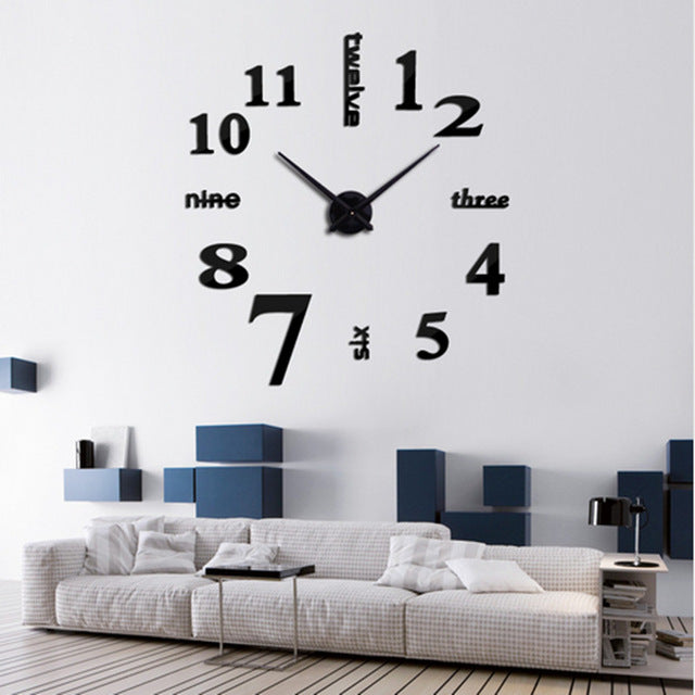 Black Clock 3D Wall Sticker DIY