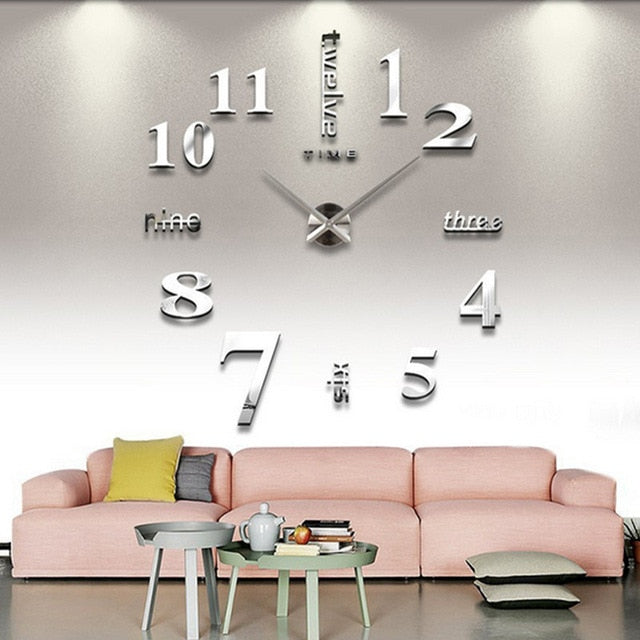 Silver Clock 3D Wall Sticker DIY