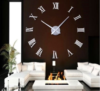 Silver Roman Numerals Clock 3D Wall Sticker DIY