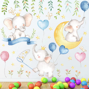 Elephant Moon Stars Wall Decals Kids Room Decor