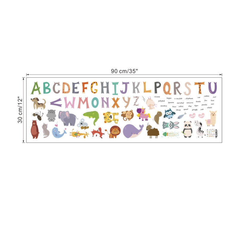 Adorable Alphabet Animals Wall Stickers
