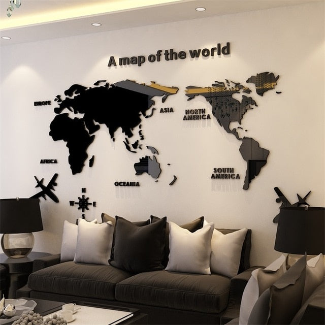 Black World Map Acrylic  3D Wall Sticker