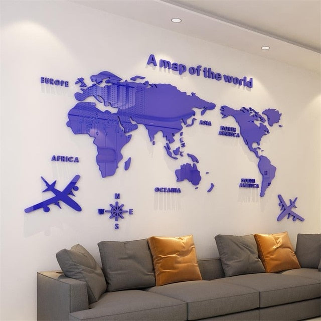 Dark Blue- colored World Map Acrylic Decorative 3D Wall Sticker ( DIY Wall Decor & Home Decor Ideas)