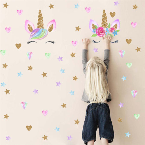 Magical Fairy Unicorn Bling Stars Wall Decor Stickers Kids Room Decor