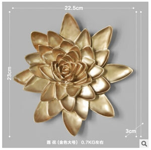 Resin Lotus Flowers & Coy Fish 3D Wall Sticker