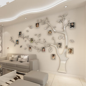 Silver 3D Tree Photo Frame Wall Sticker DIY
