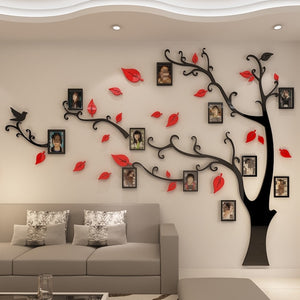 Red Leaves Right Tree Photo Frame Wall Sticker DIY