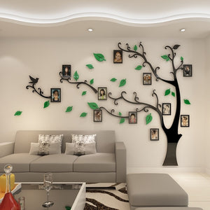 Green Leaves Tree Photo Frame Wall Sticker DIY (left)