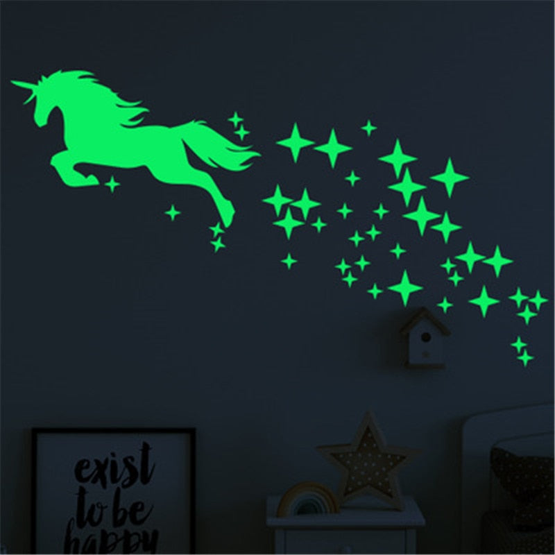 Luminous Unicorn Wall Stickers For Kids Room Decor