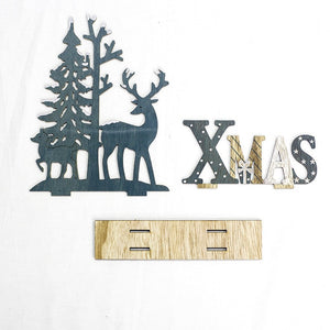 Wood Reindeer X-Mas Home Decorations