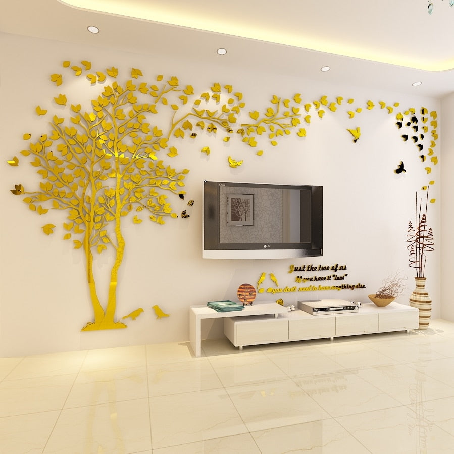 Gold- colored (Left) Lovers Tree Wall Stickers  (3D Acrylic Crystal Wall Decor) DIY Home Design Ideas