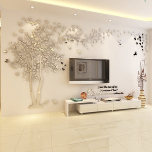 Silver Left 3D Acrylic Tree Wall Stickers DIY