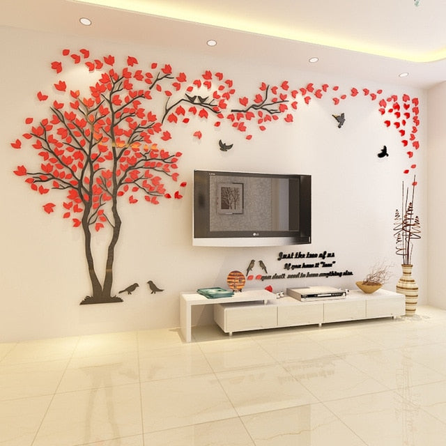 Red- colored (Left) Lovers Tree Wall Stickers  (3D Acrylic Crystal Wall Decor) DIY Home Design Ideas