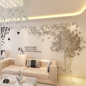 Silver- colored (Right) Lovers Tree Wall Stickers  (3D Acrylic Crystal Wall Decor) DIY Home Design Ideas