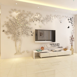 Silver- colored (Left) Lovers Tree Wall Stickers  (3D Acrylic Crystal Wall Decor) DIY Home Design Ideas
