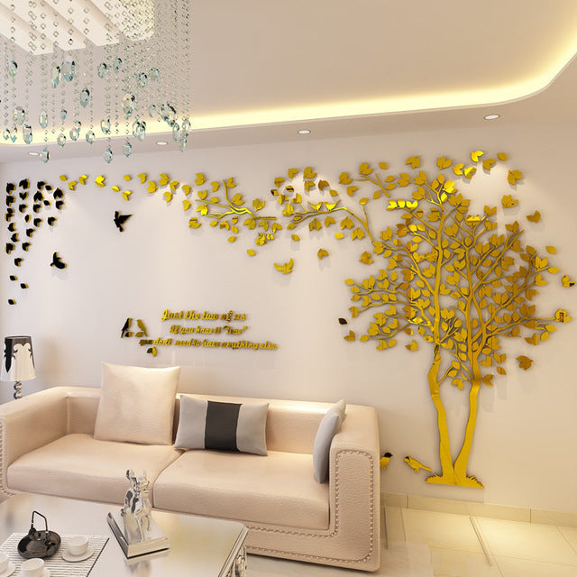 Gold (Right) Tree 3D Acrylic Wall Stickers DIY