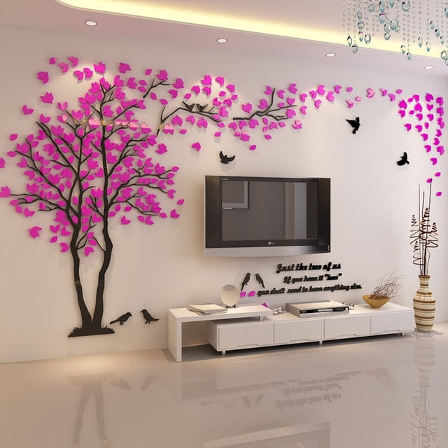 Rose- colored (Left) Lovers Tree Wall Stickers  (3D Acrylic Crystal Wall Decor) DIY Home Design Ideas