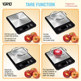 iGRiD Multifunctional Digital Food Weighing Scale with Stainless Steel Platform | 5Kg | Black |