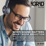 iGRiD-Hush Active Noise Cancelling Over The Ear Bluetooth Headphones | Black | IG-8100|