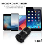 iGRiD Dual Port USB Car Charger | 24W/4.8A Output| Metallic | Fast Charging |