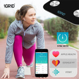 iGRiD Bluetooth Smart Body Fat Scale Monitor 17 Essential Parameters with ALFIT App | Black |