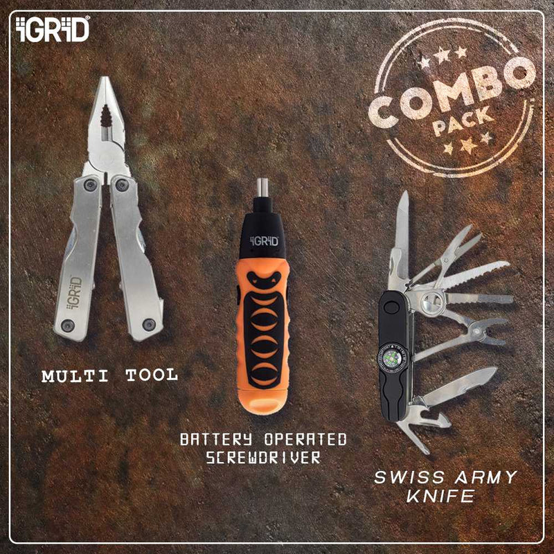iGRiD Home Multi-Tool kit (Swiss Army Knife, Multi-Tool plier Combo with Screwdriver)