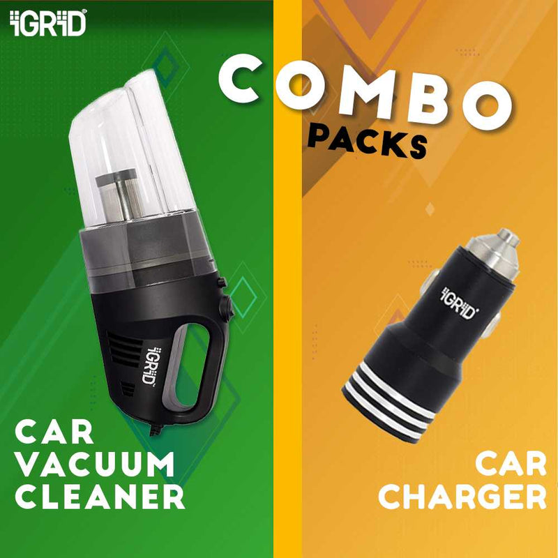 COMBO OFFER- iGRiD Car vacuum Cleaner (Black) and Car Charger | Car Kit