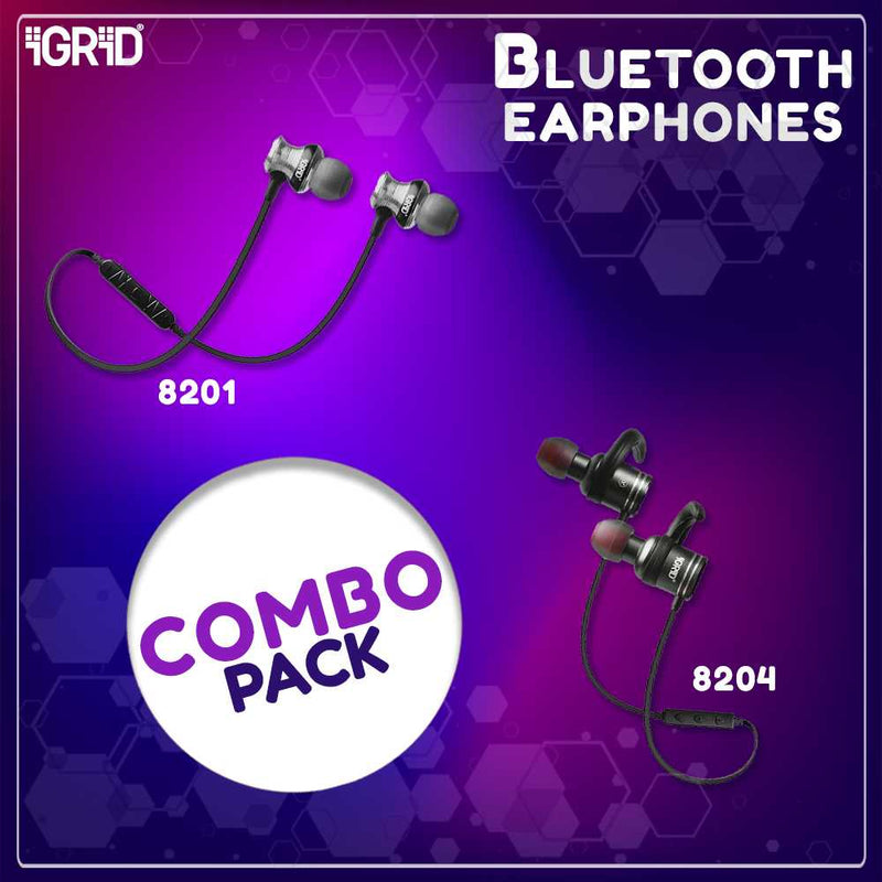 iGRiD Bluetooth Earphones Combo Offer (IG-8201 and IG-8204)