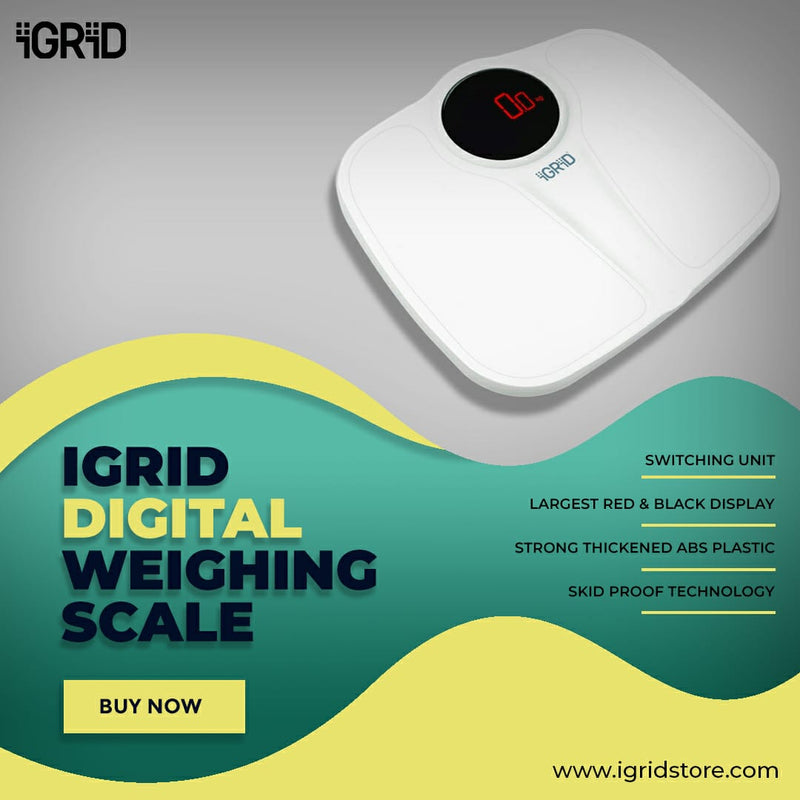 iGRiD Electronic Personal Digital Scale Weighing Machine for Body Weight | White |