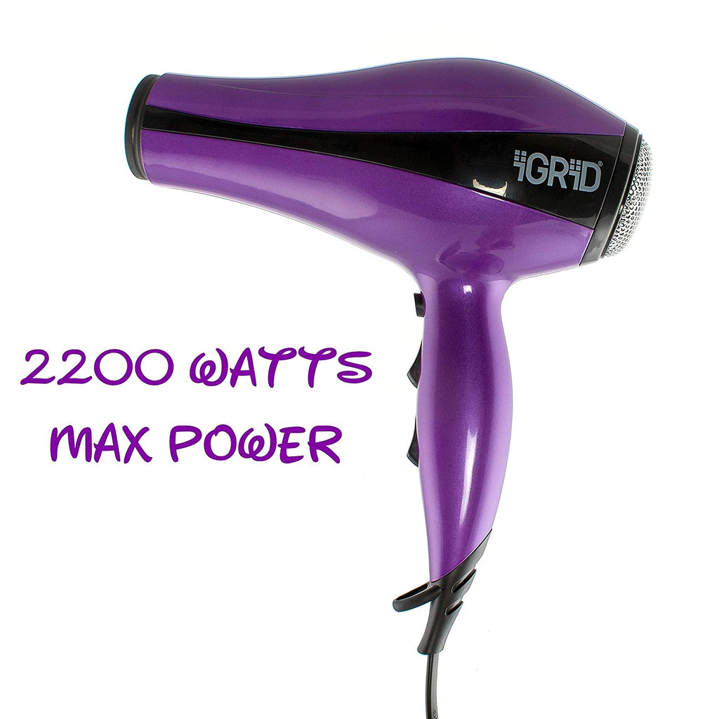 iGRiD Professional Hair Dryer | 2200W | Concentrator | Cool Shot | Powerful | Purple |