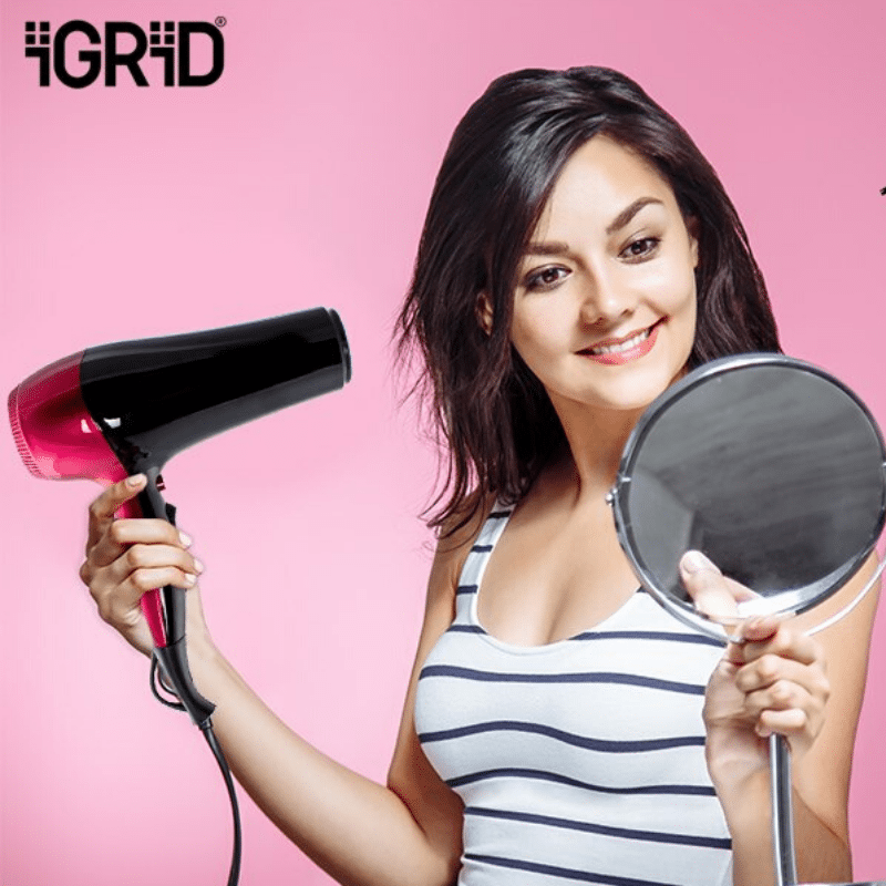 iGRiD Professional Hair Dryer | 2200W | Concentrator | Cool Shot | Powerful | Red |