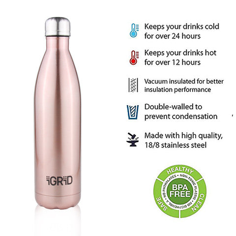 iGRiD Stainless Steel Leak-Proof Double Walled Hot and Cold Water Bottle 1000 ml | Gold |