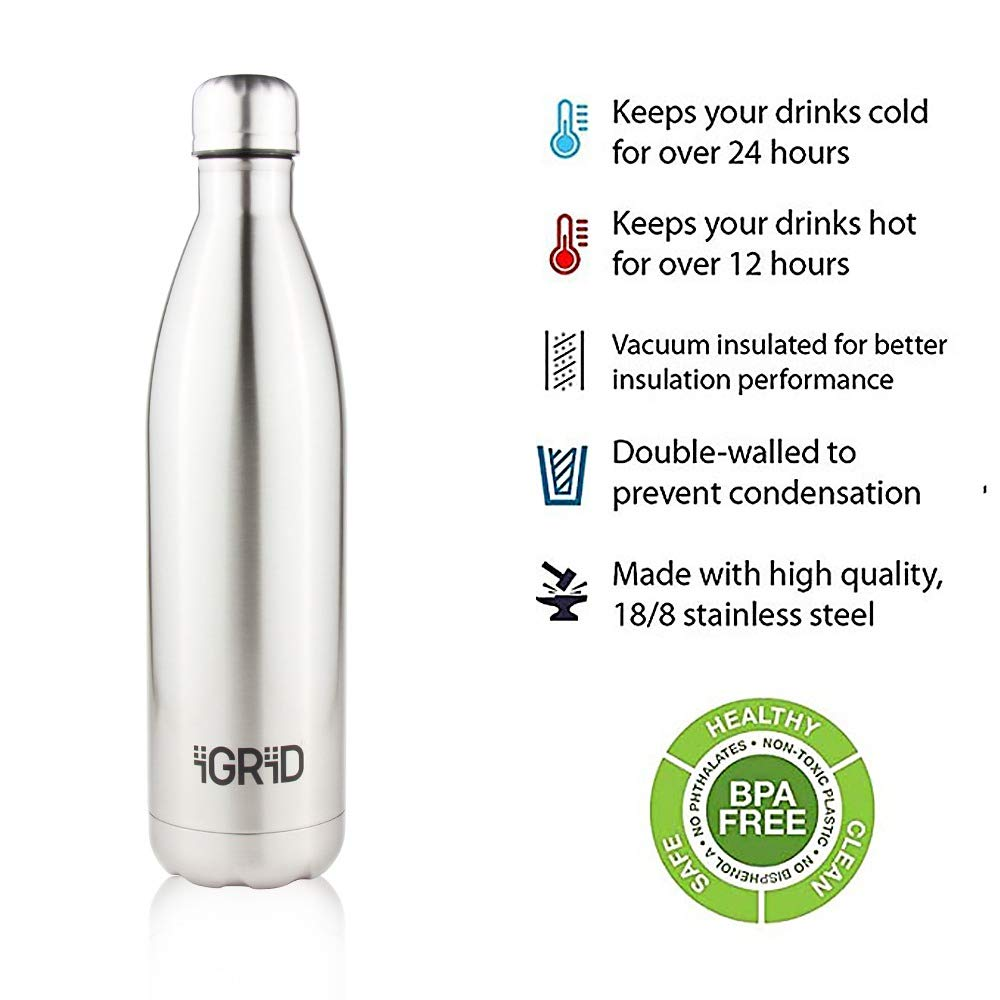 iGRiD Double Wall Stainless Steel Leak-Proof Hot and Cold Water Bottle 1000 ml | Silver |